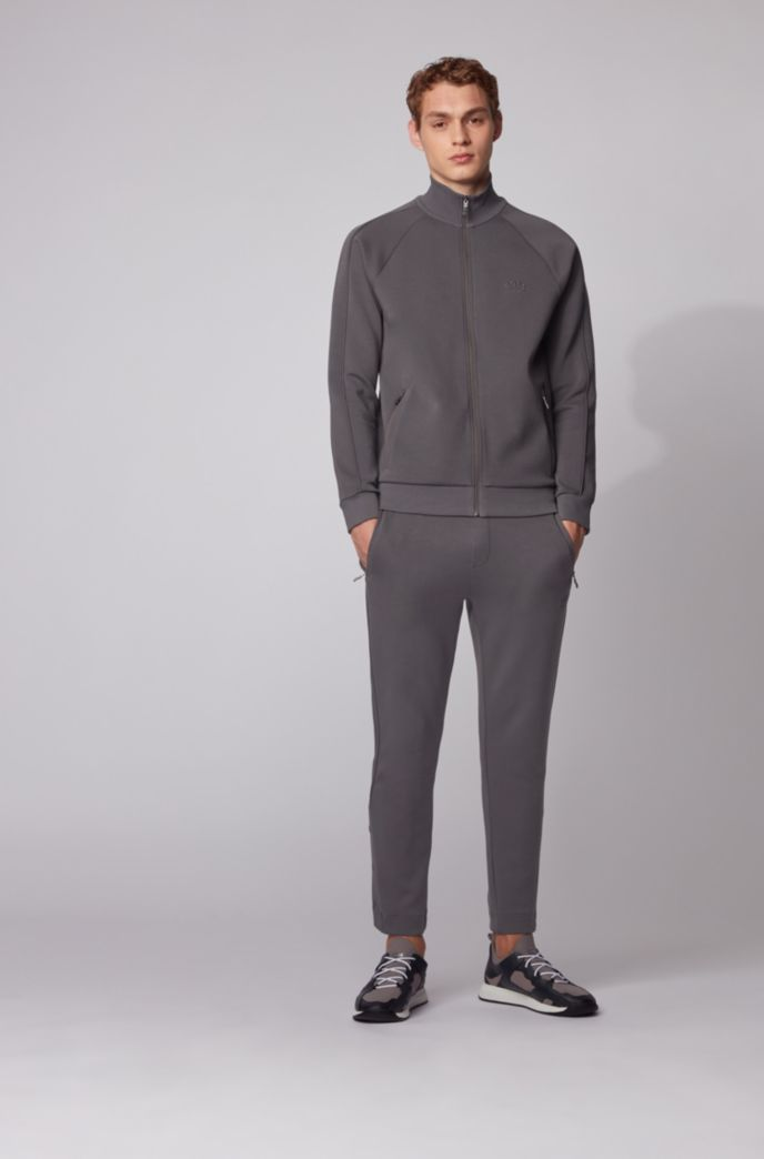 Zip-through sweatshirt with piqué trims
