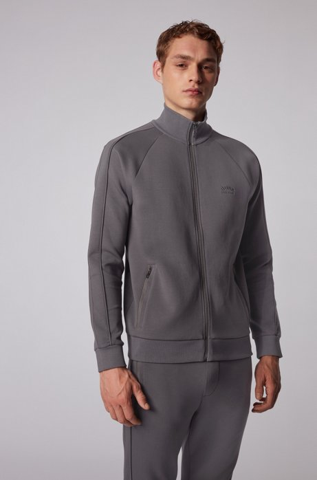Zip-through sweatshirt with piqué trims, Dark Grey