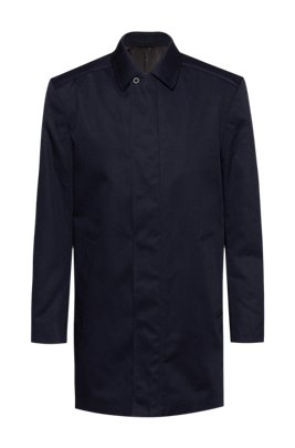 Slim-fit car coat in water-repellent fabric, Dark Blue
