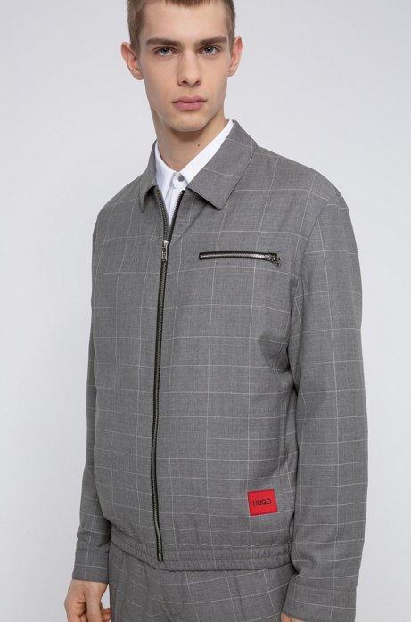 Veste Regular Fit en laine vierge à carreaux discrets, Gris chiné