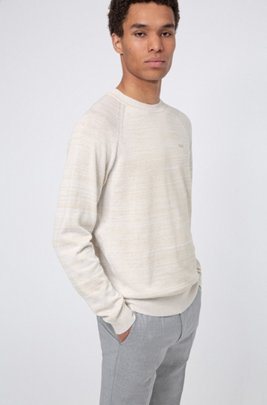 Relaxed-fit sweater in mouliné linen-blend yarn, White