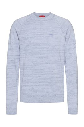 Relaxed-fit sweater in mouliné linen-blend yarn, Dark Blue