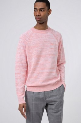 Relaxed-fit sweater in mouliné linen-blend yarn, Light Red
