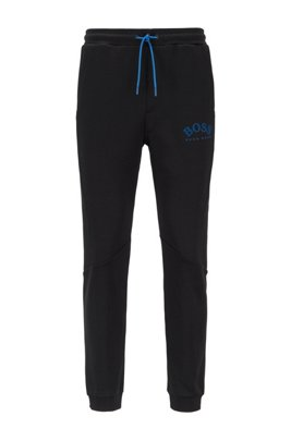 Slim-fit jogging trousers with colour-block insert, Black