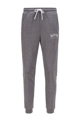 Slim-fit jogging trousers with colour-block insert, Grey