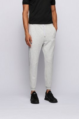 Slim-fit jogging trousers with colour-block insert, Light Grey
