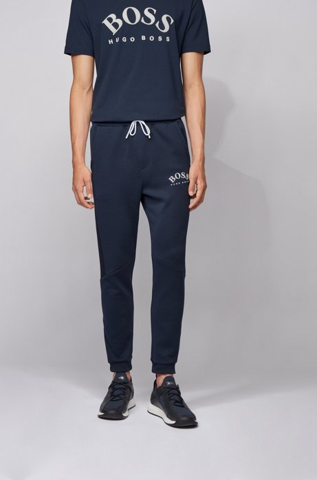 Slim-fit jogging trousers with colour-block insert, Dark Blue