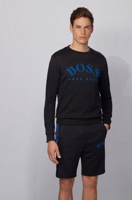 Sweater met ronde hals en contrasterende logoprint, Zwart