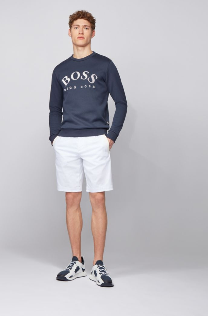 Crew-neck sweatshirt with contrast logo print