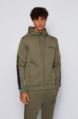 Regular-fit hooded sweatshirt with colour-block sleeve detail, Dark Green
