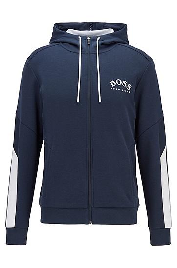 撞色衣袖常规版型连帽运动衫,  410_海军蓝色
