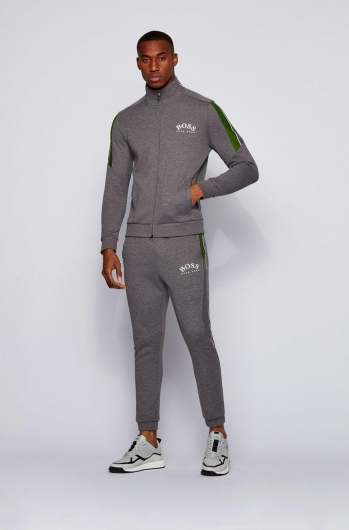 Zip-through sweatshirt with colour-block sleeves