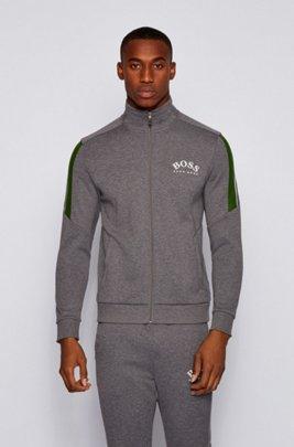 Zip-through sweatshirt with colour-block sleeves, Grey