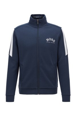 Zip-through sweatshirt with colour-block sleeves, Dark Blue