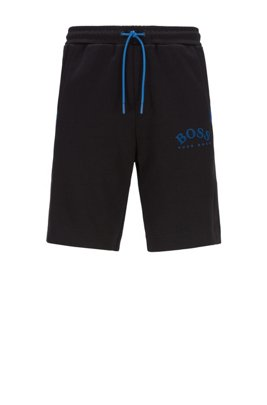 Slim-fit jersey shorts with colour-block insert, ブラック