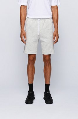 Slim-fit jersey shorts with colour-block insert, Light Grey