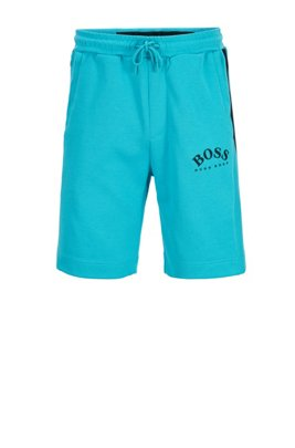 Slim-fit jersey shorts with colour-block insert, ライトブルー