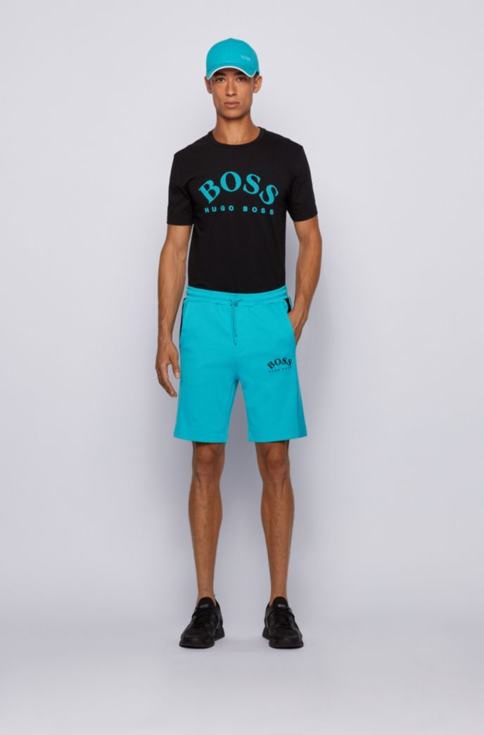 Slim-fit jersey shorts with colour-block insert