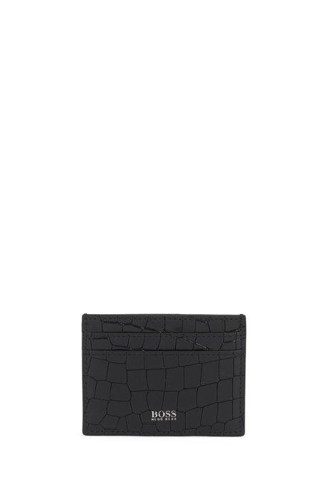 Crocodile-print card holder in Italian leather, Black