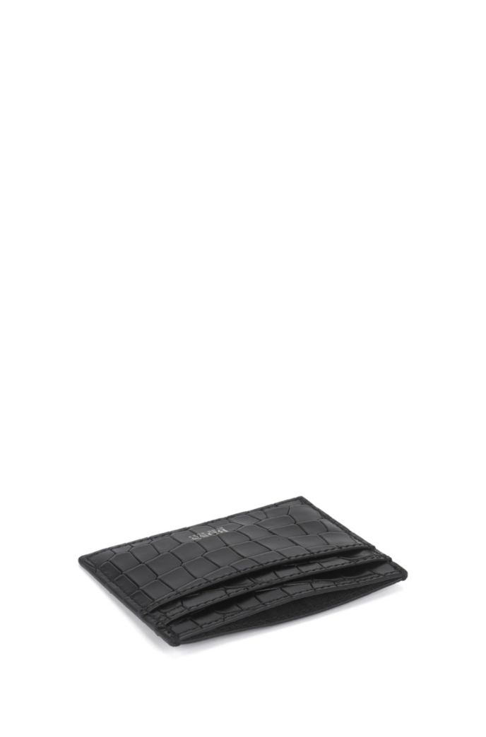 Crocodile-print card holder in Italian leather