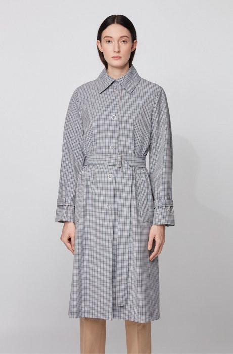 Trench coat in stretch fabric with pepita check, Patterned