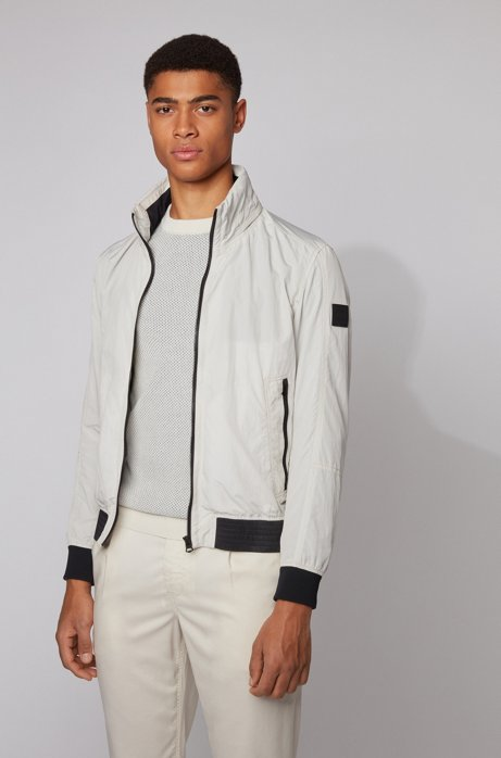 Slim-fit jacket in lightweight fabric with packable hood, Light Beige