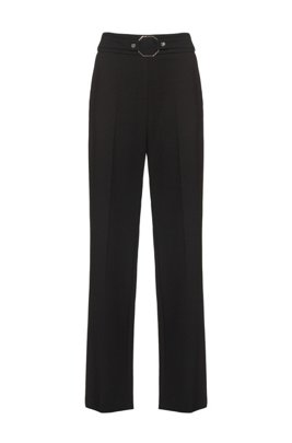 High-rise relaxed-fit trousers with hardware-detailed waistline, Black