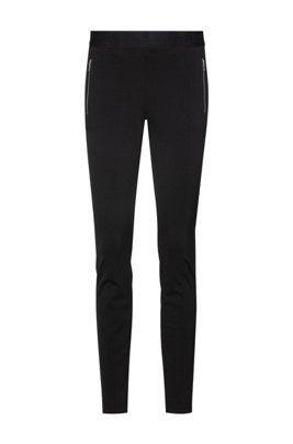 Skinny-fit leggings with zipped pockets, Black