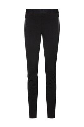 Skinny-Fit Leggings mit Reißverschlusstaschen, Schwarz
