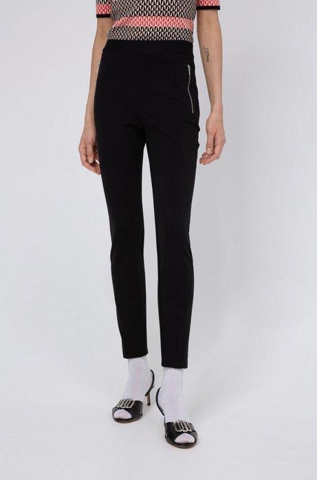Leggings skinny fit con tasche con zip, Nero