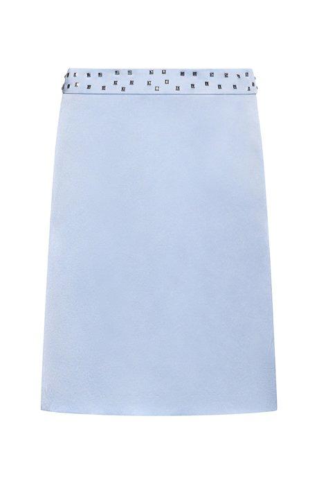 Minifalda de tejido elástico con cintura tachonada, Celeste