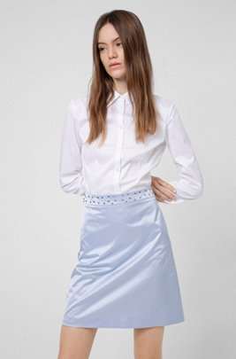 Mini skirt in stretch fabric with studded waistband, Light Blue