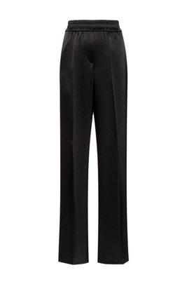 Pantalon large en tissu brillant avec fentes au bas des jambes, Noir