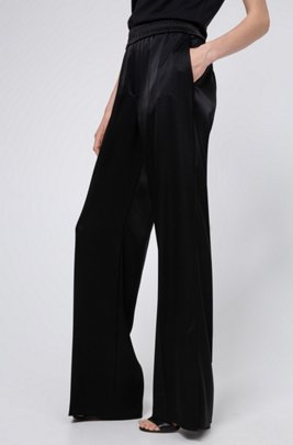 Wide-leg trousers in lustrous fabric with hem slits, Black