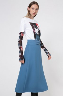 Midi skirt in crepe with buckle detail, ダークブルー