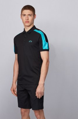 Slim-fit polo shirt in cotton with striped sleeves, Black