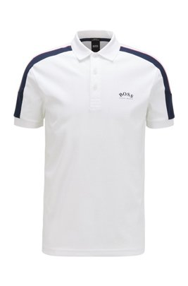 Slim-fit polo shirt in cotton with striped sleeves, ホワイト