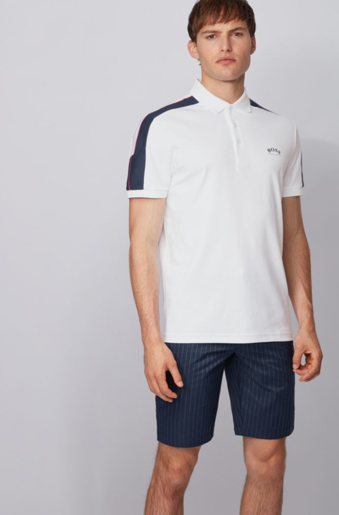 Slim-fit polo shirt in cotton with striped sleeves