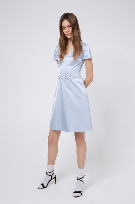 A-line dress in stretch fabric with studded waistband, Light Blue