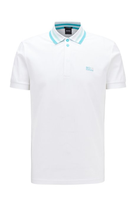 Cotton-piqué polo shirt with striped mesh collar, White