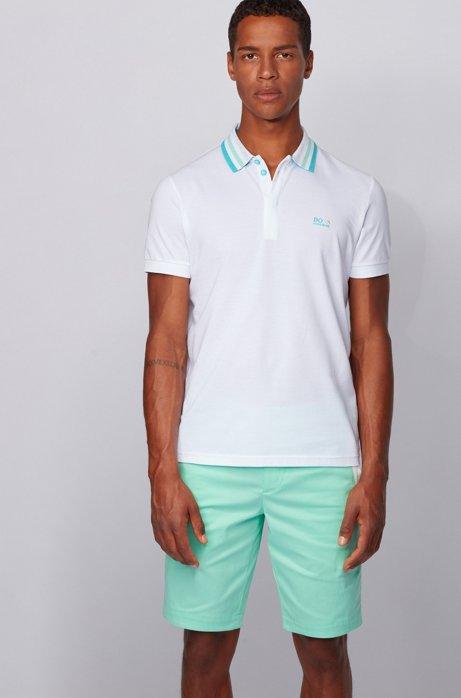 Poloshirt aus Baumwoll-Piqué mit gestreiftem Mesh-Kragen, Weiß