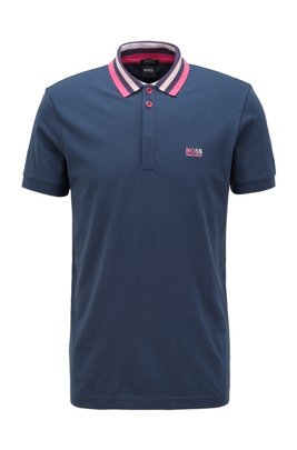 Cotton-piqué polo shirt with striped mesh collar, Dark Blue