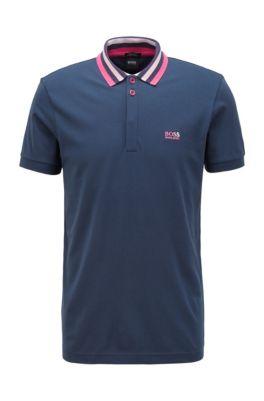 Cotton-piqué polo shirt with striped mesh collar, Dark Blue