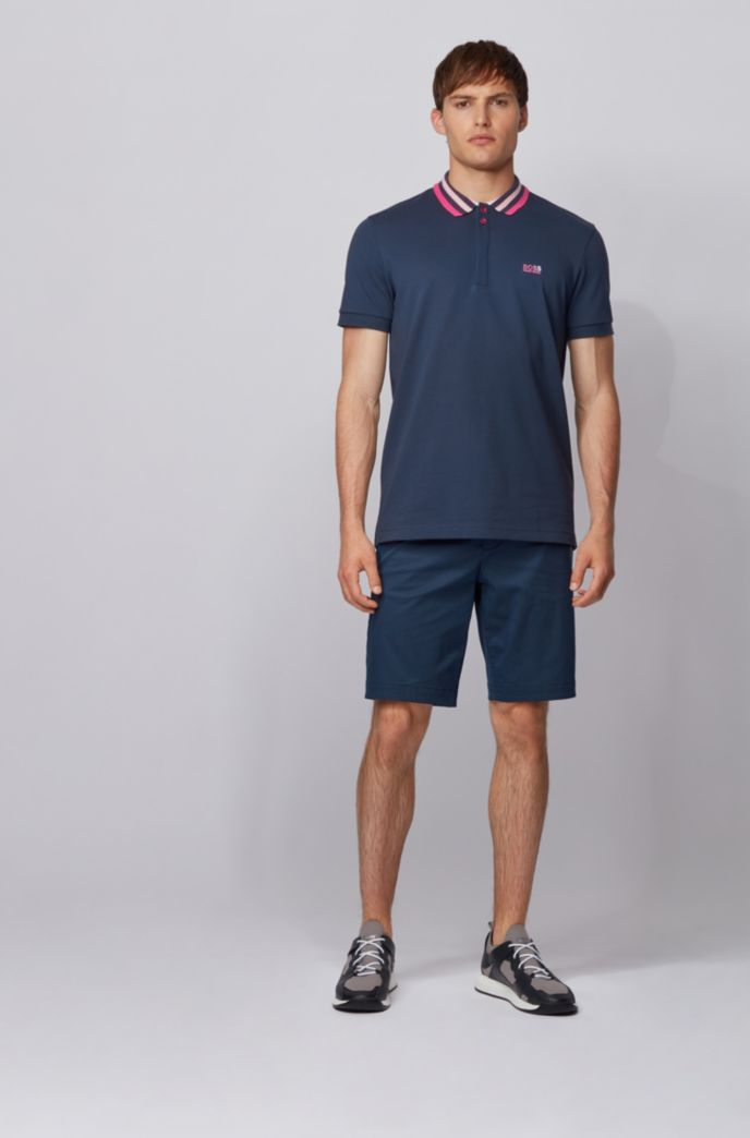 Cotton-piqué polo shirt with striped mesh collar