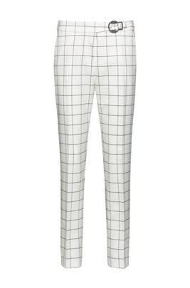 Checked regular-fit trousers with buckle detail, White