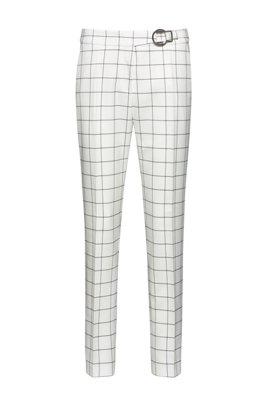 Pantalon Regular Fit à carreaux avec boucle, Blanc