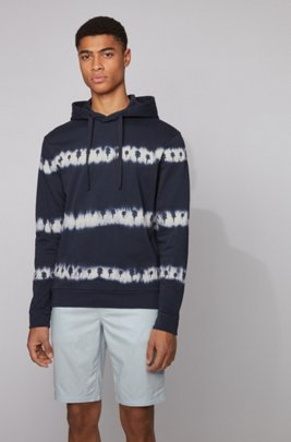 Fully recyclable hoodie in cotton with tie-dye print, Dark Blue