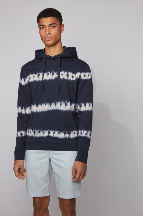 Recycelbares Kapuzen-Sweatshirt aus French Terry mit Batik-Print, Dunkelblau