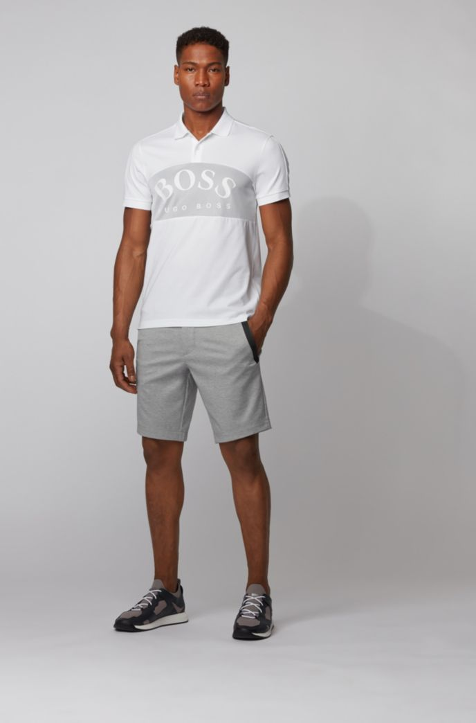 Cotton-blend polo shirt with curved logo on mesh