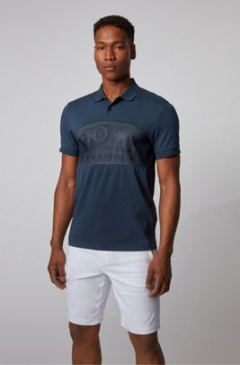 Cotton-blend polo shirt with curved logo on mesh, Dark Blue